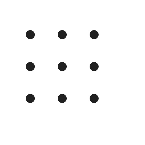 Nine dots arranged in a grid