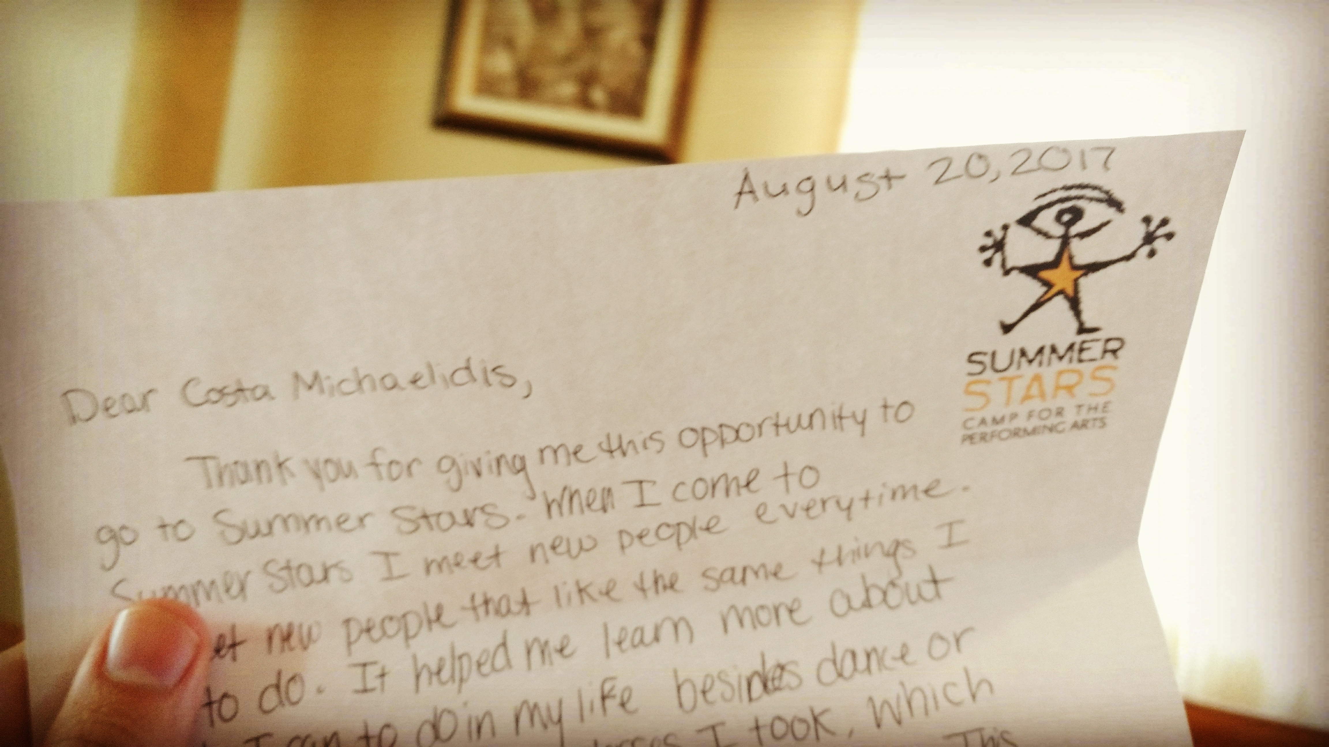 Letter from a Summer Stars Camper
